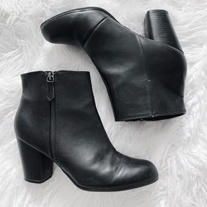 fall black leather boots / booties with heel
